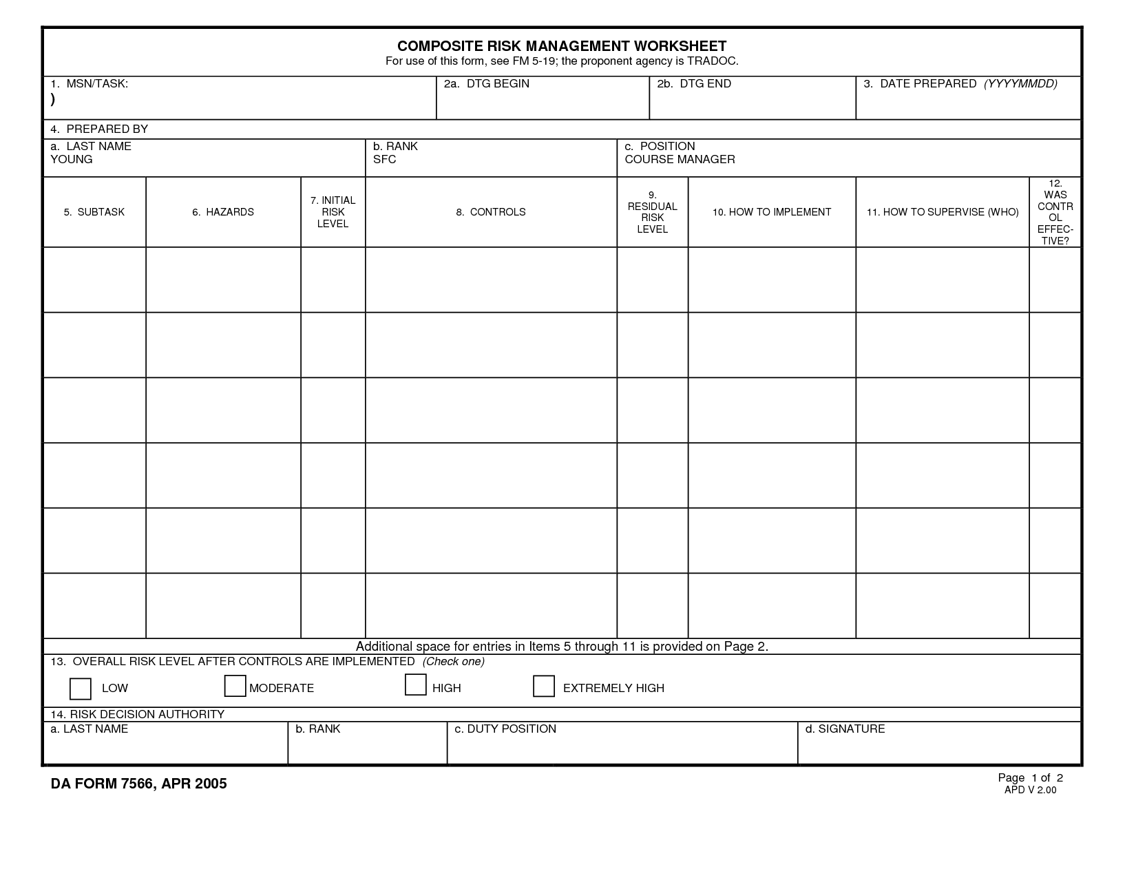 Army Deliberate Risk Assessment Worksheet Example