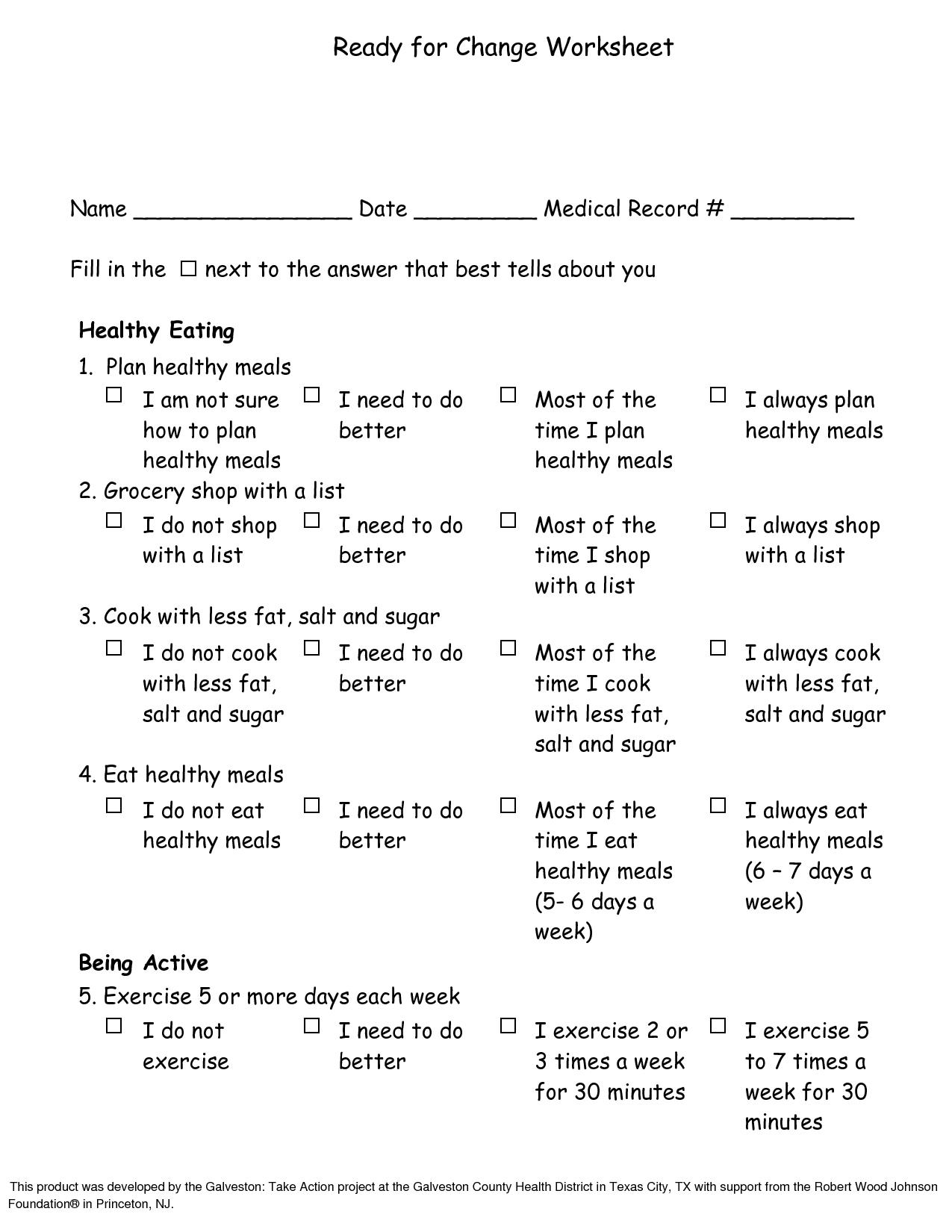 17 Best Images Of Lifestyle Change Worksheet