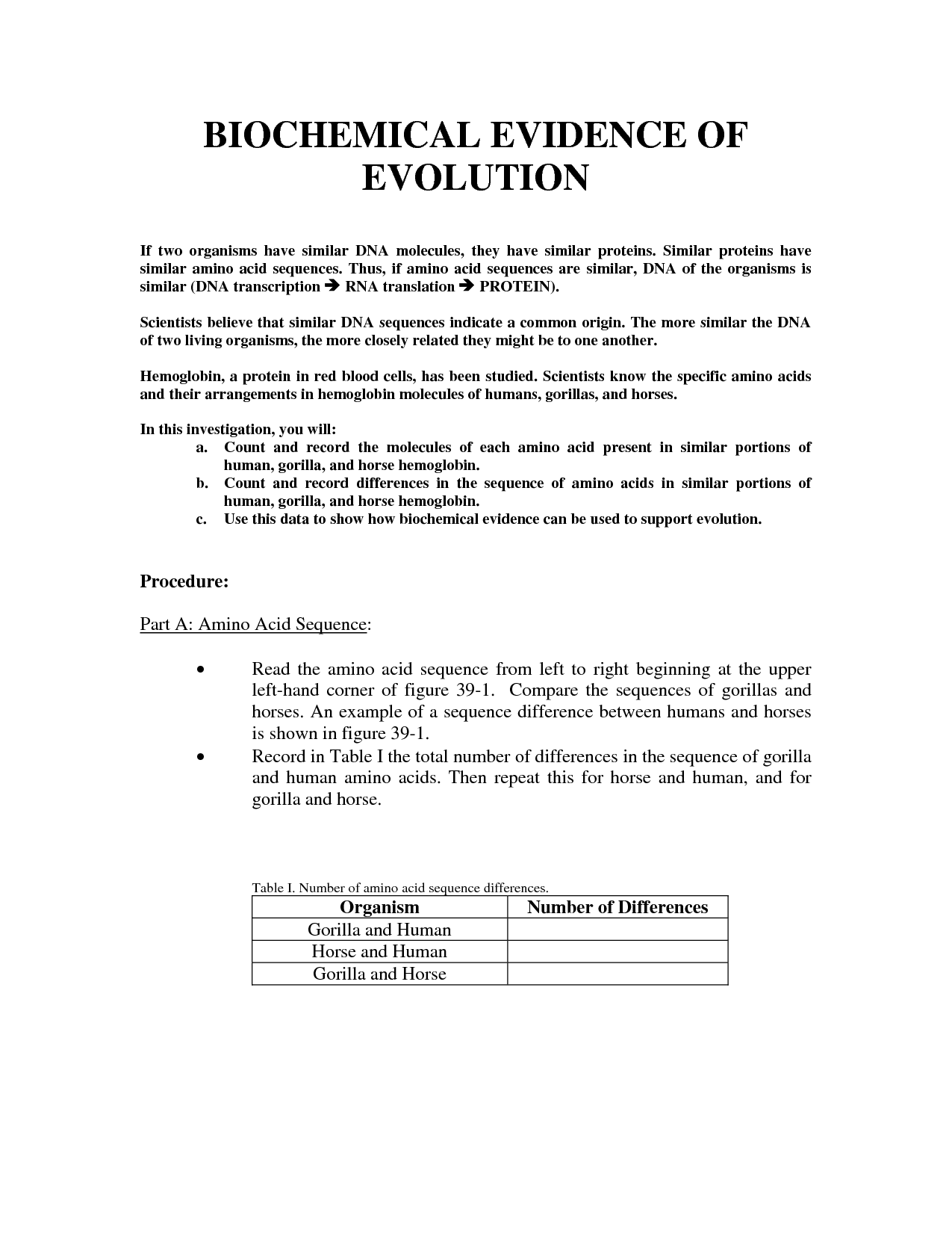 16 Best Images Of Evidence Of Evolution Worksheet Answers