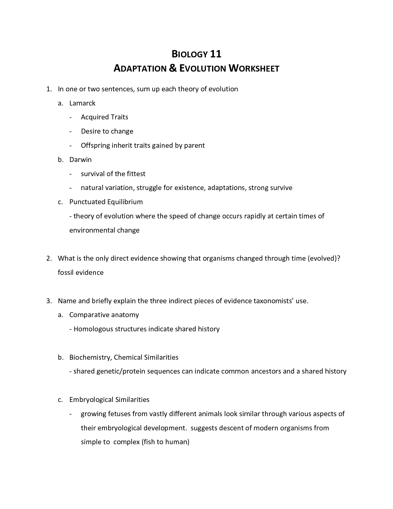 Evolution Worksheet With Answers