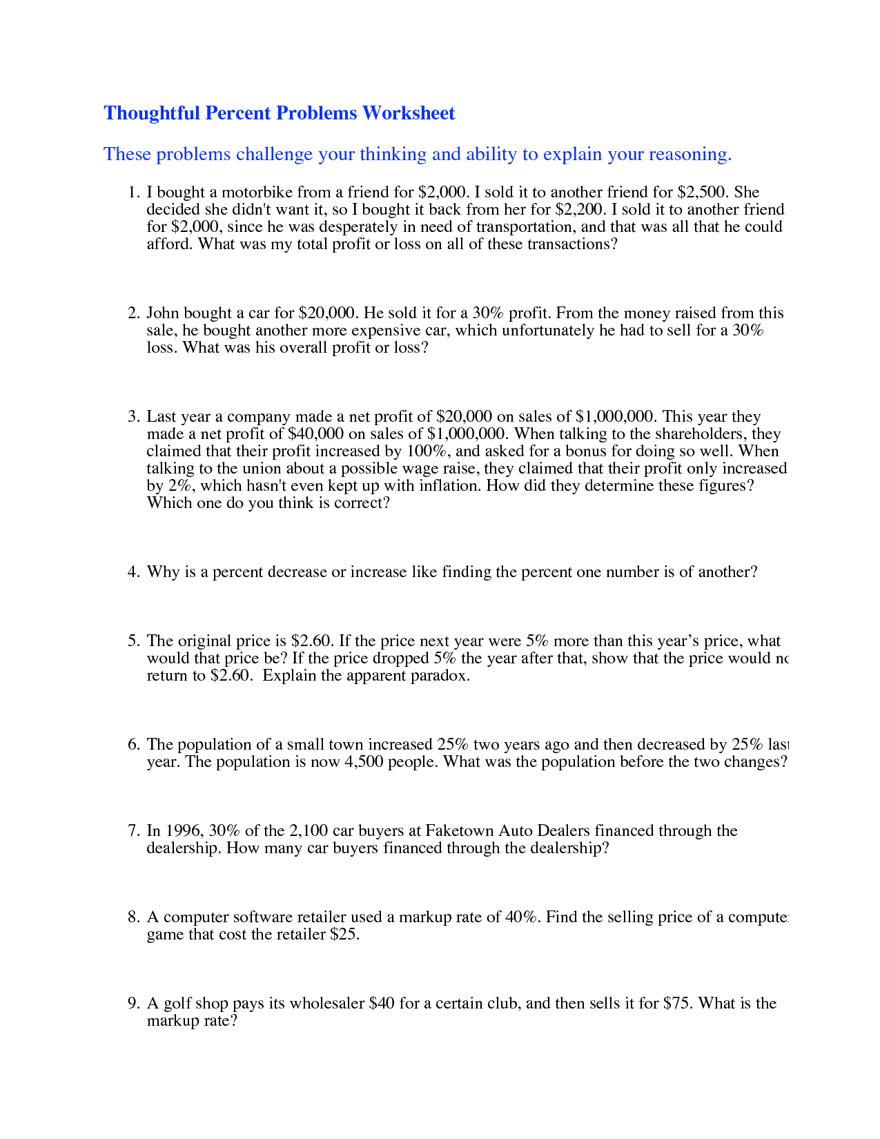 9 Best Images Of Percentage Word Problems Worksheets