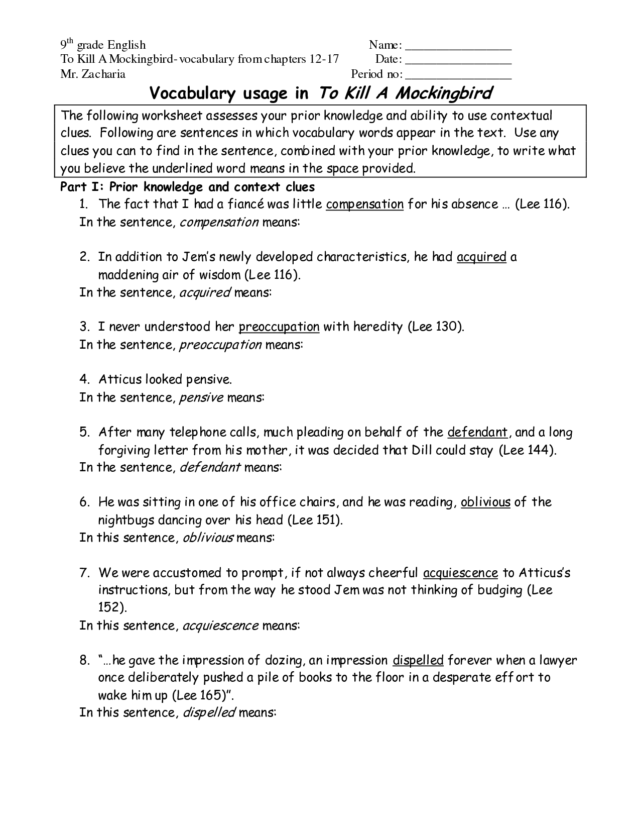 9th Grade Worksheet Category Page 1
