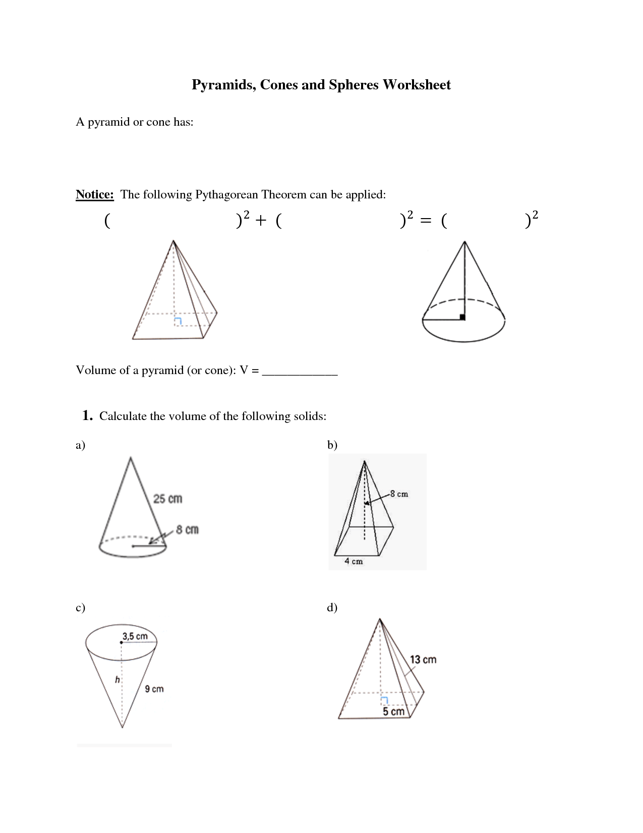 8 Best Images Of Worksheets Surface Area Of Cones