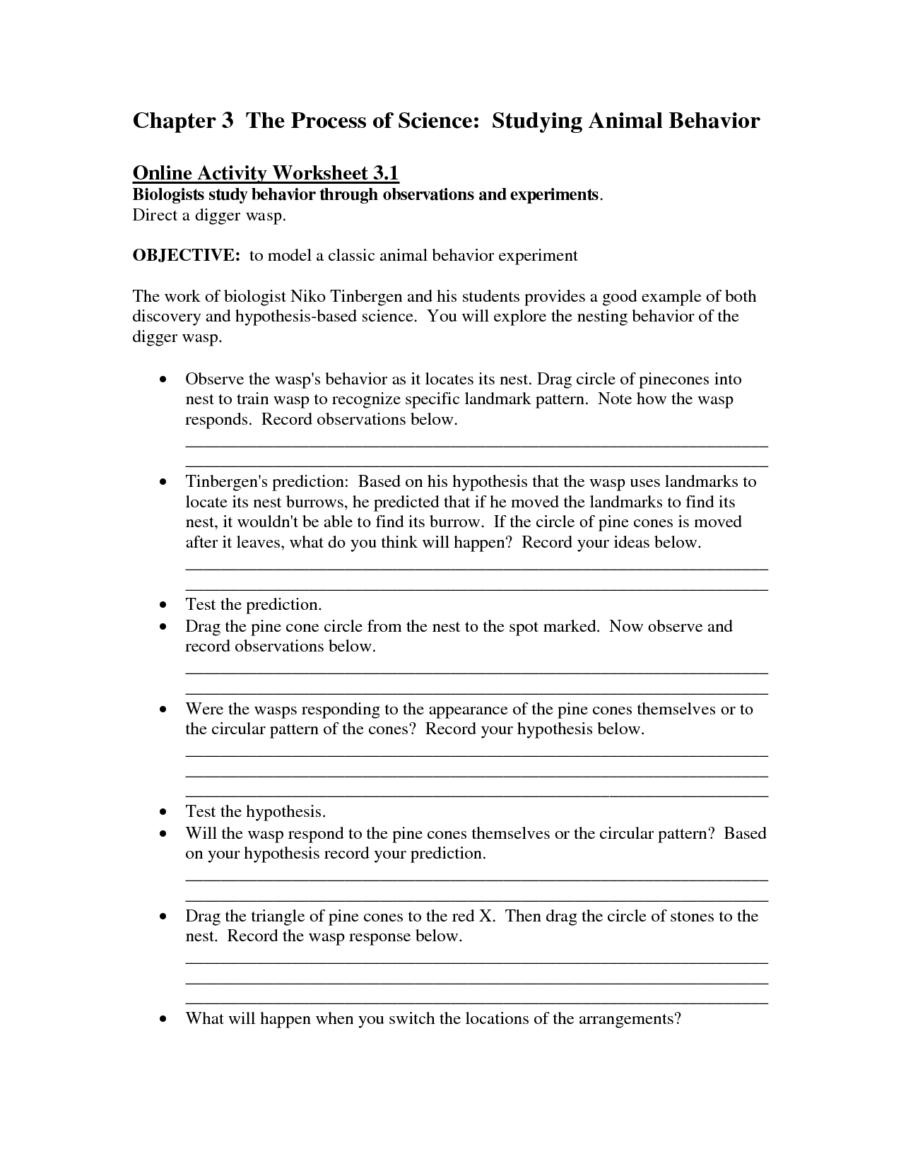 And Animal Behavior Worksheet
