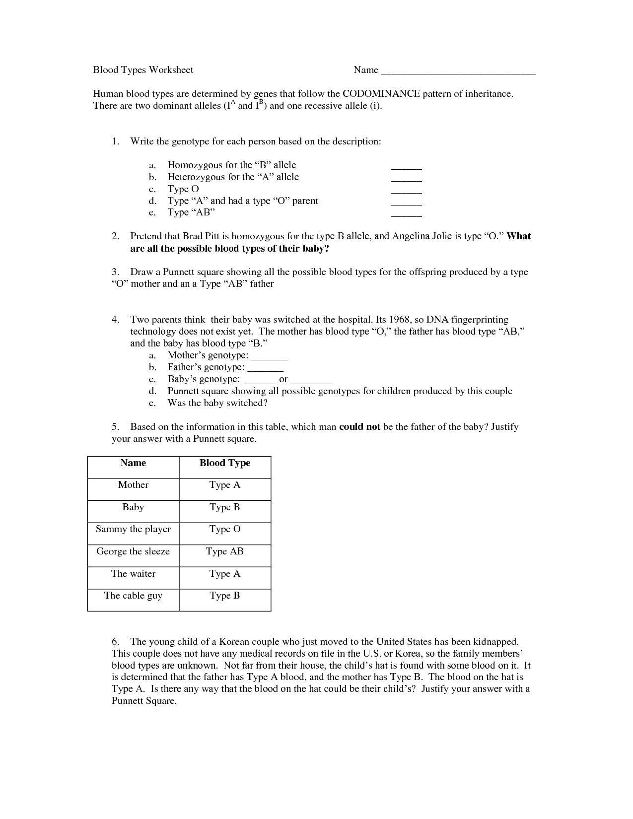 28 Blood Types Genetics Worksheet
