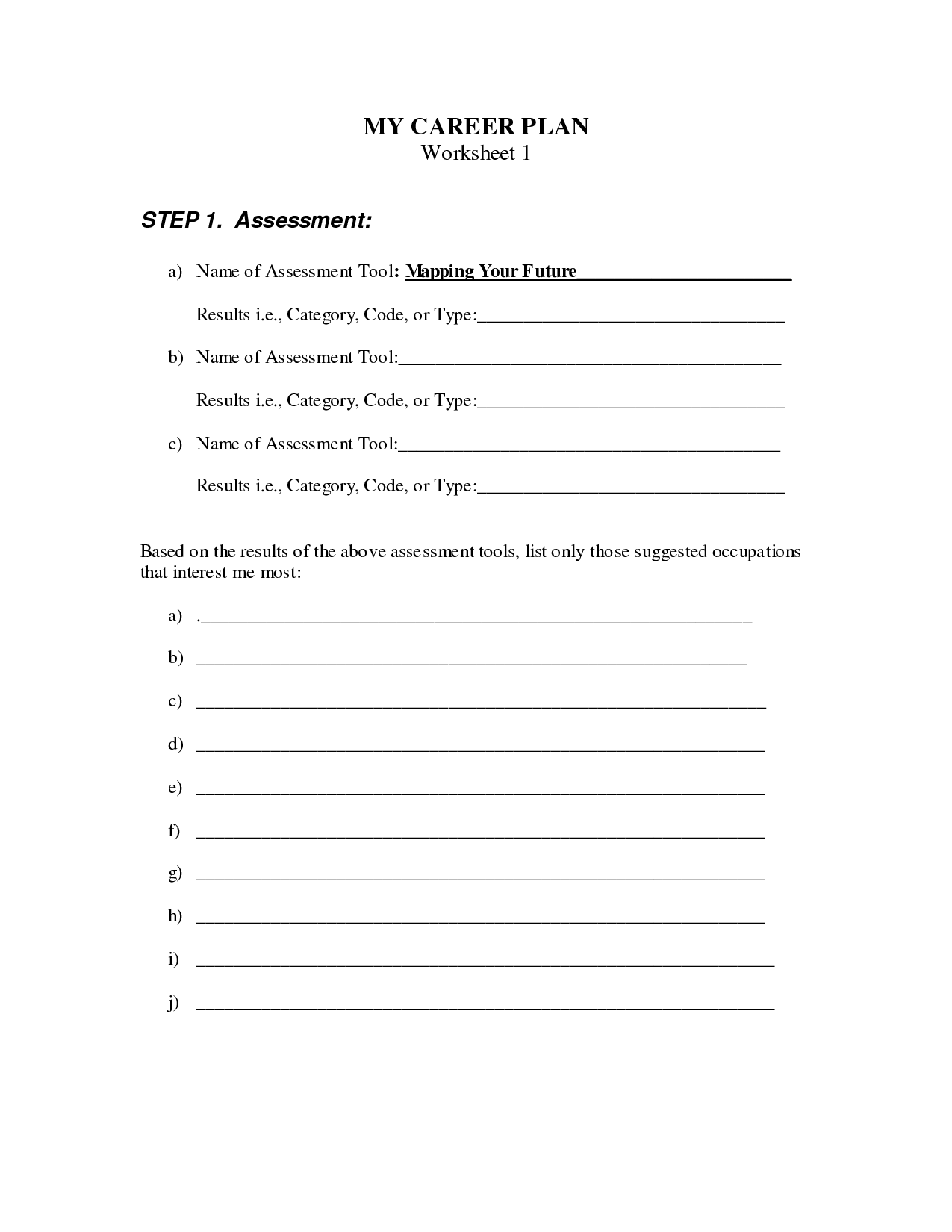 26 Career Worksheet For High School Students
