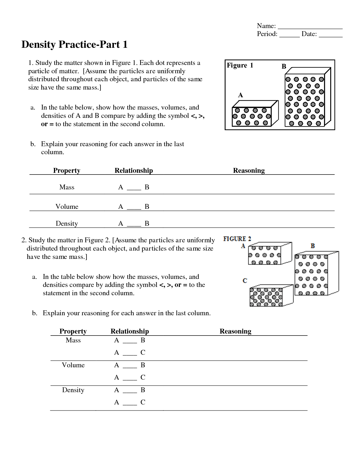 Density Worksheet 1 Answers