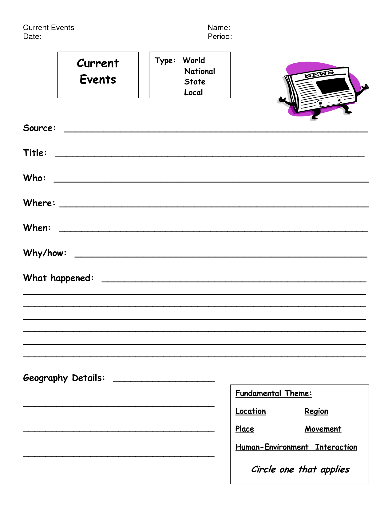 Current Event Worksheet High School