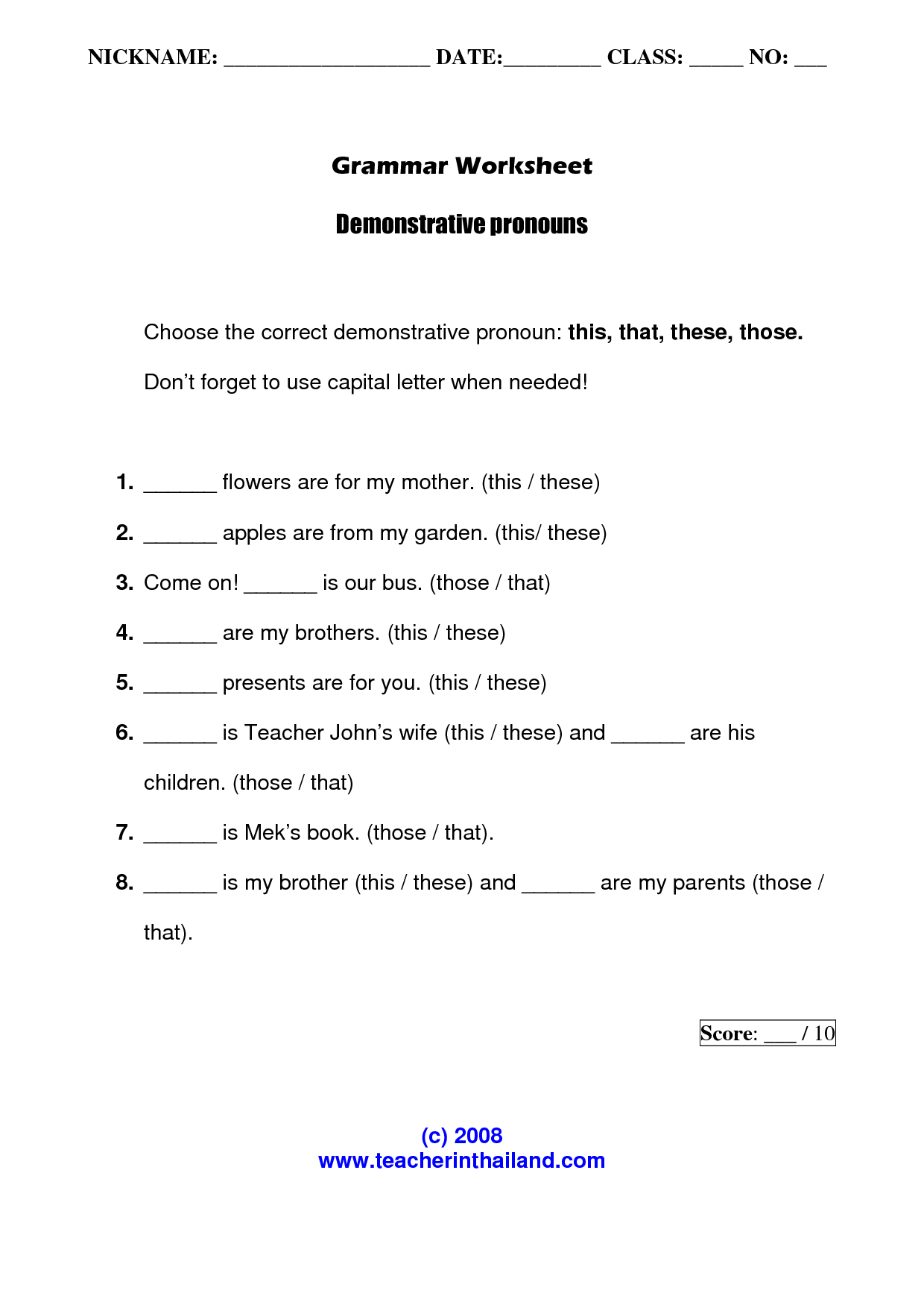 15 Best Images Of Worksheets Demonstrative Pronouns