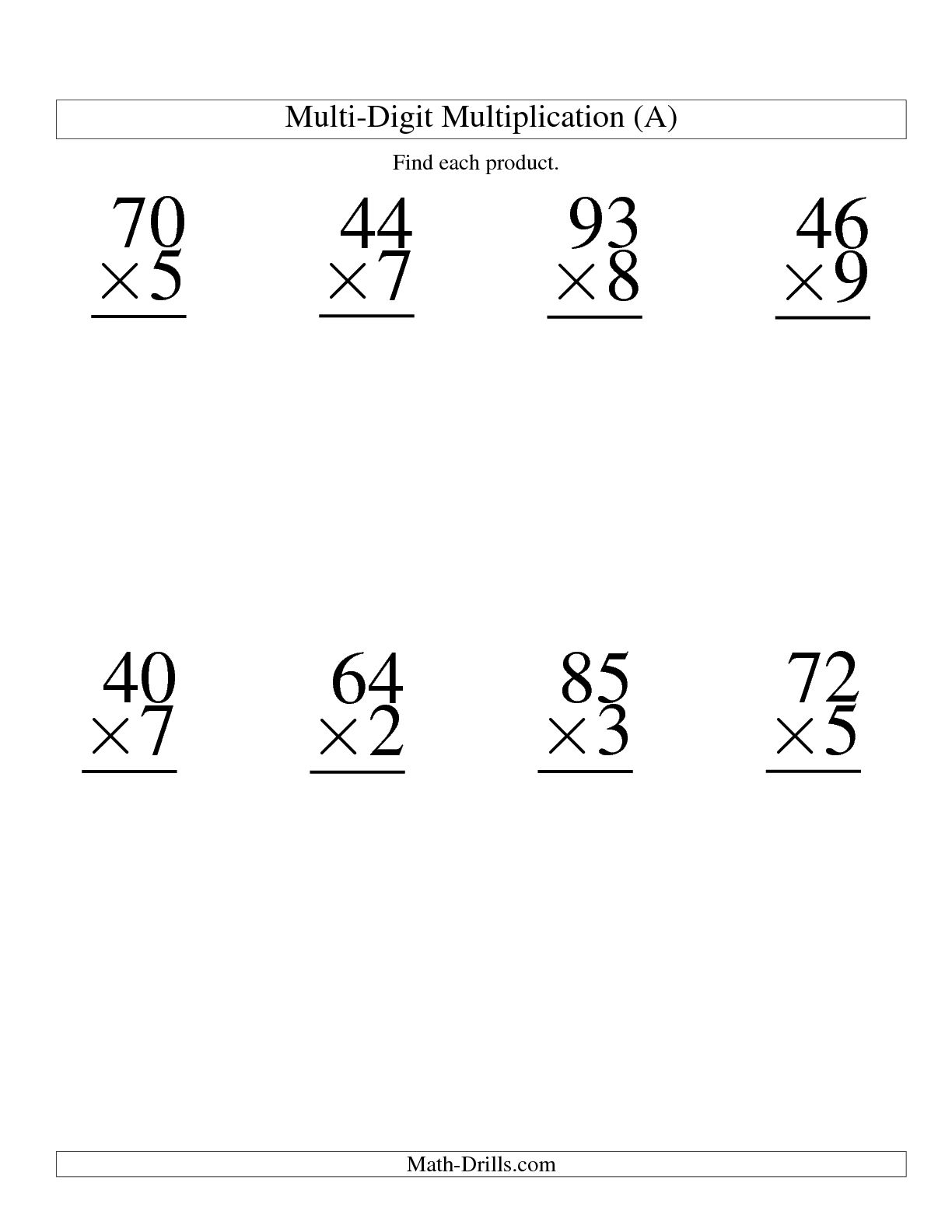 Box Method Multiplication 2 Digits By 1 Worksheet