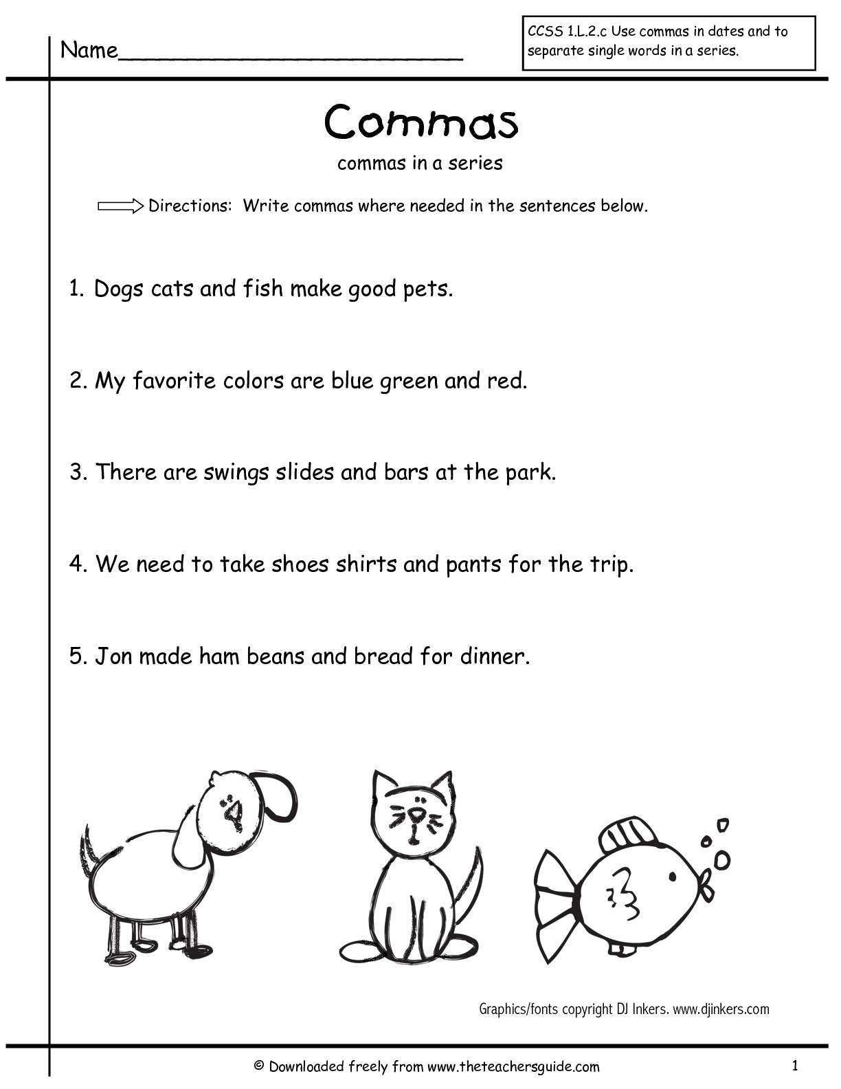 16 Best Images Of Series Comma Worksheets