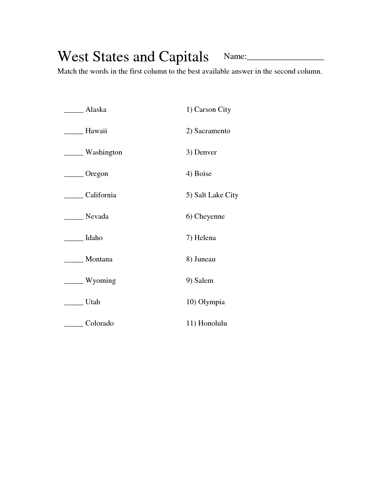 10 Best Images Of Midwest Region States And Capitals Worksheets