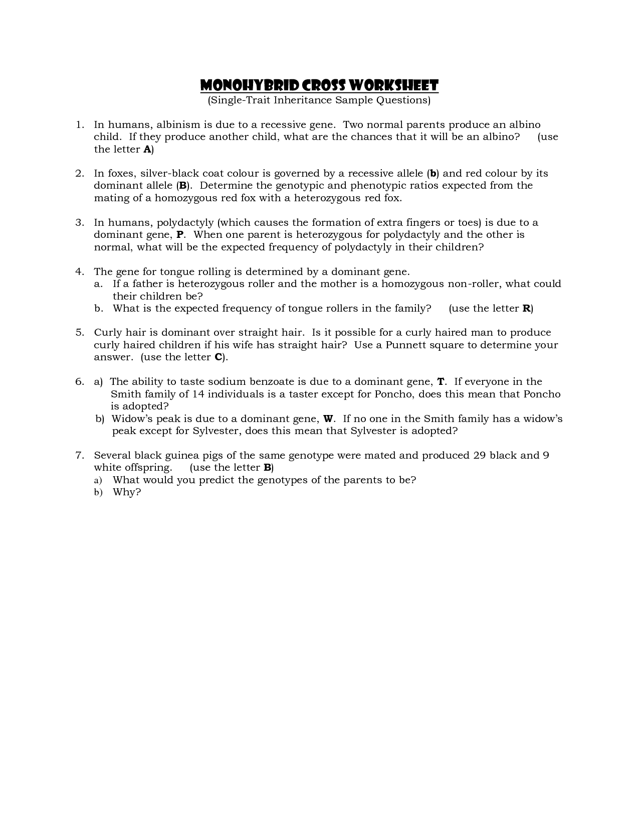 30 Monohybrid Crosses Practice Worksheet Answer Key