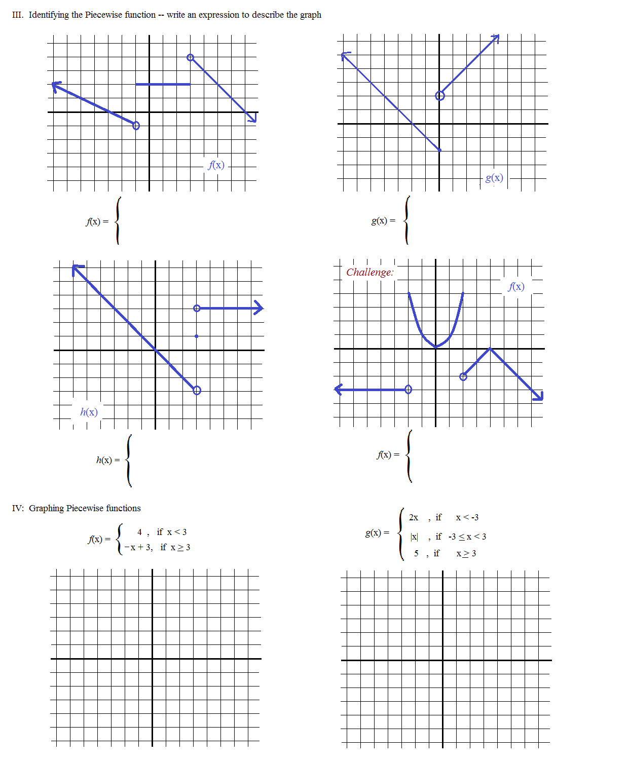 10 Best Images Of Algebra 2 Piecewise Function Worksheets