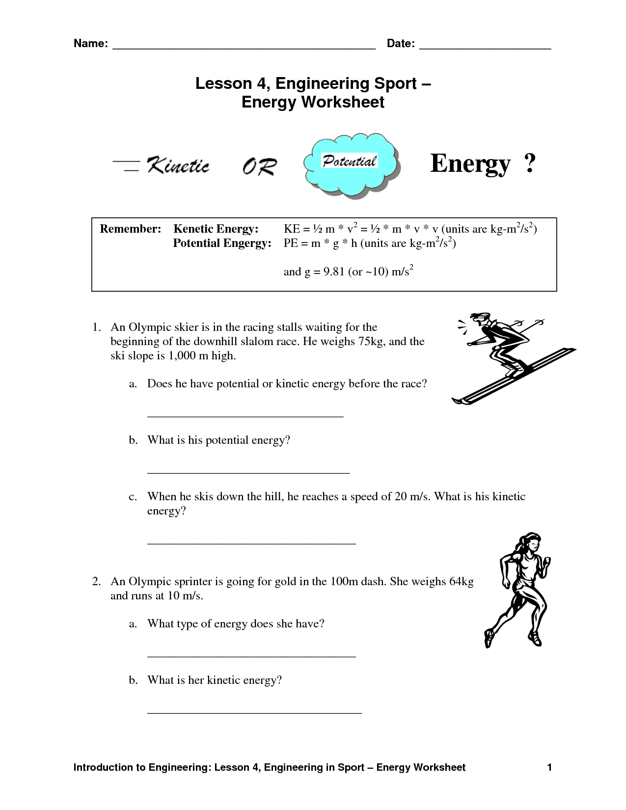Worksheet On Potential And Kinetic Energy