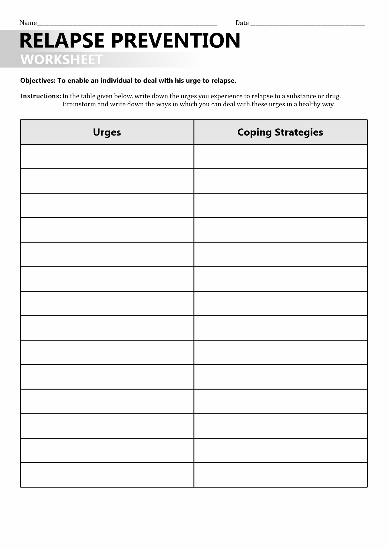 29 Mental Health Triggers Worksheet