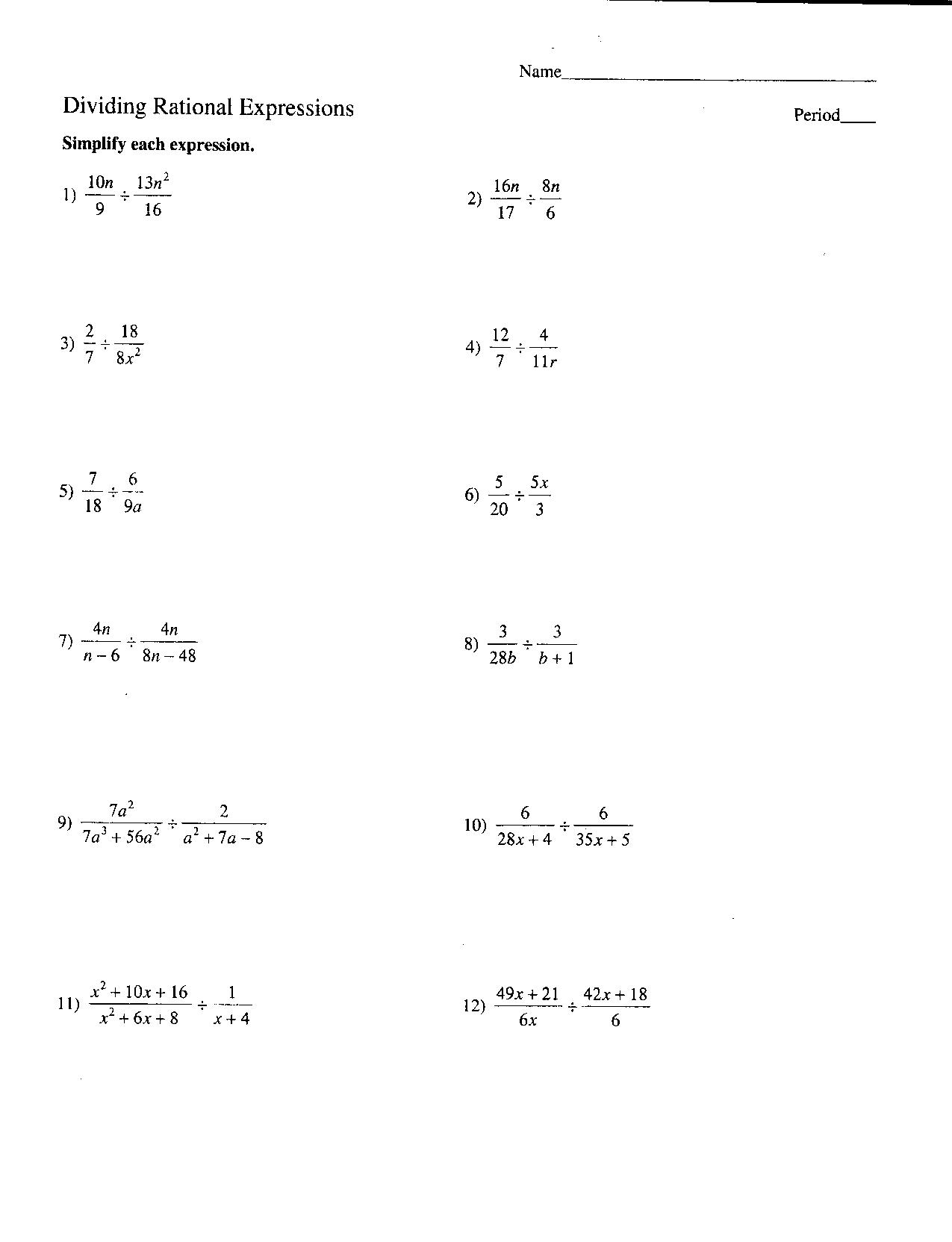 Algebraic Expressions Worksheets 7th Grade