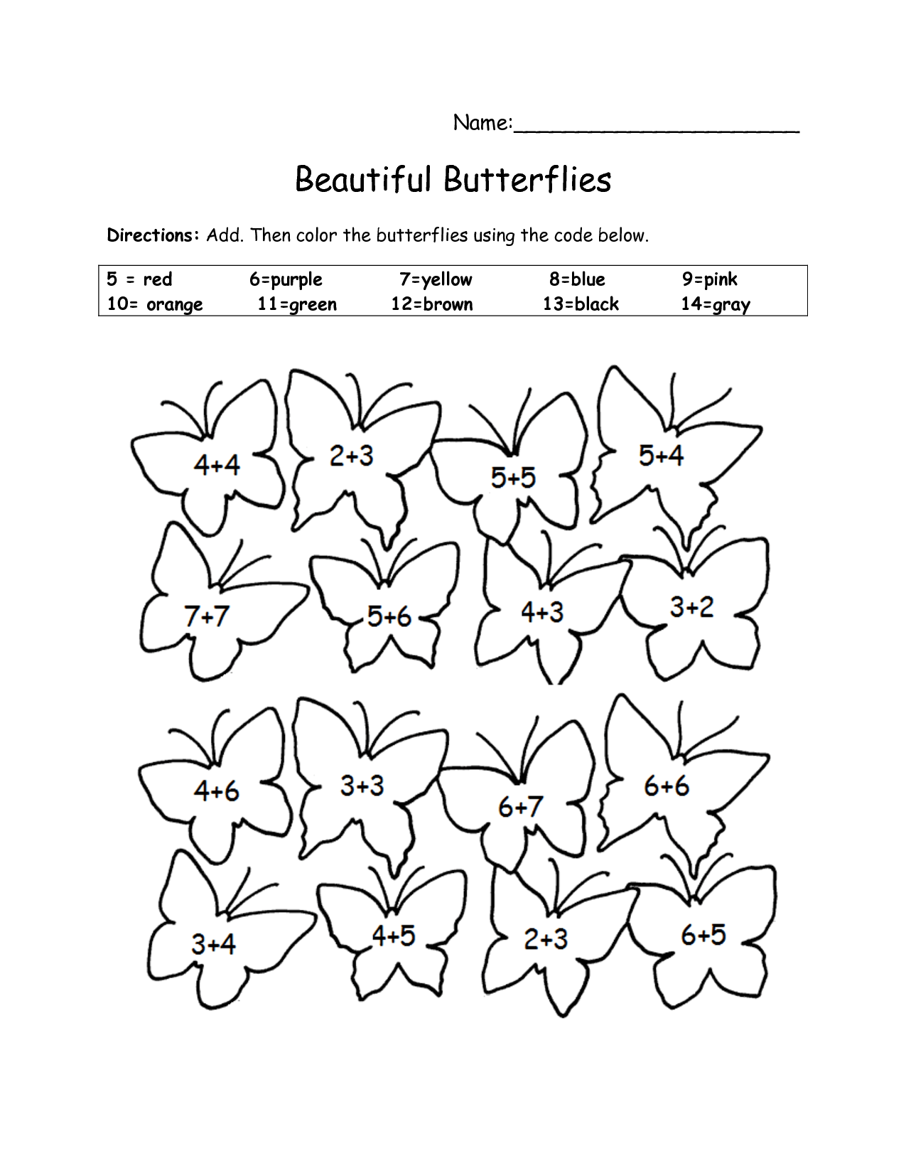 10 Best Images Of Butterfly Color By Number Worksheets