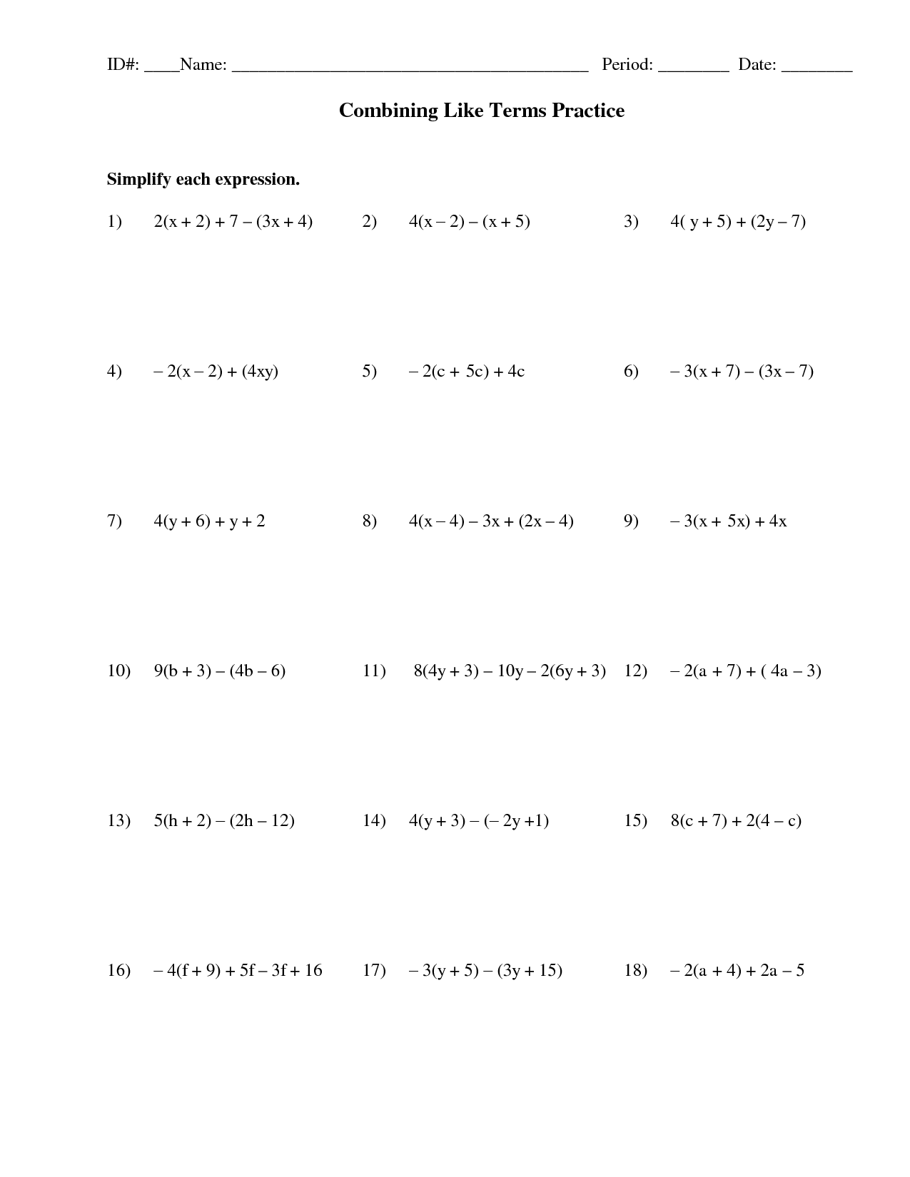 13 Best Images Of Algebra Combining Like Terms Worksheets