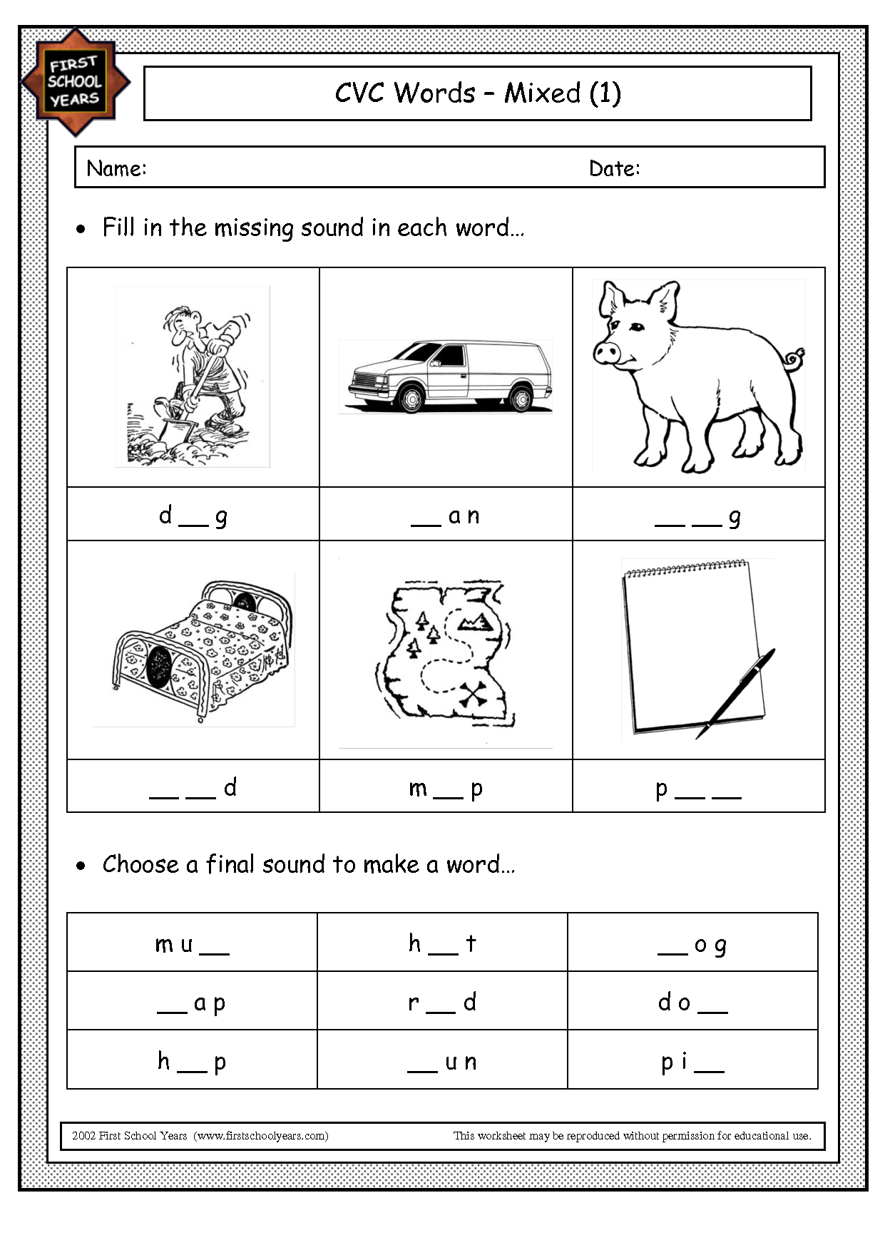 Cvc Sentences Words Worksheet