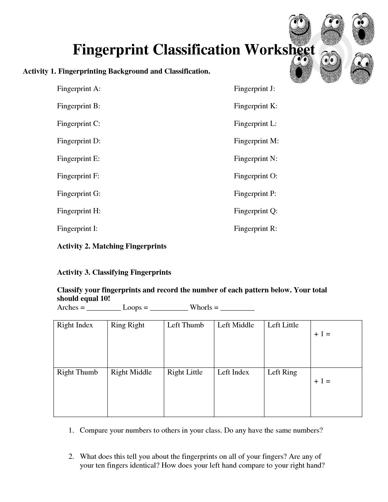 Fingerprint Activity Worksheet