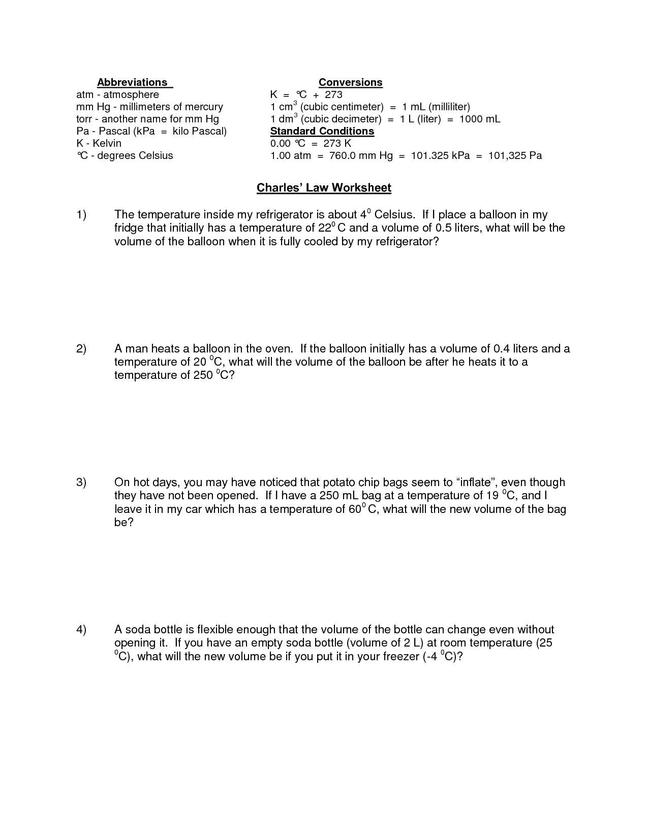 Gas Laws Practice Worksheet With Answers