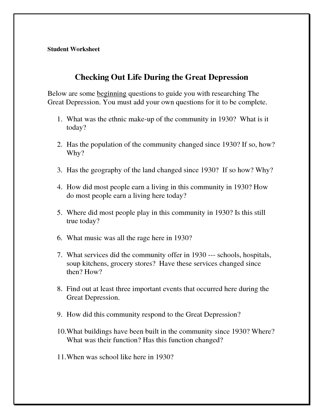 Guilt Depression Worksheet