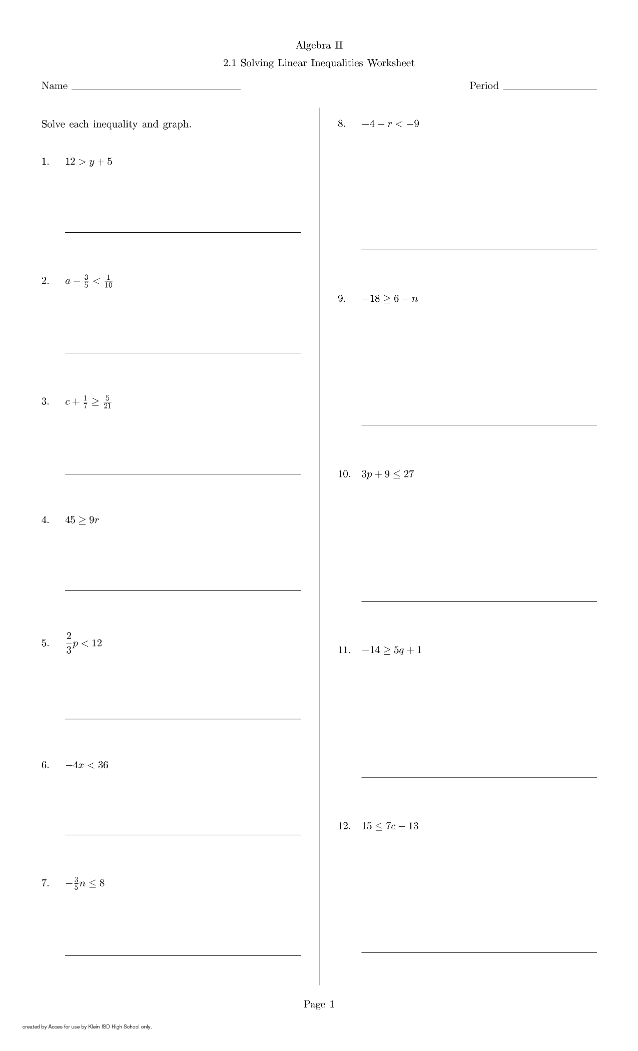 18 Best Images Of Writing Equations And Inequalities Worksheet