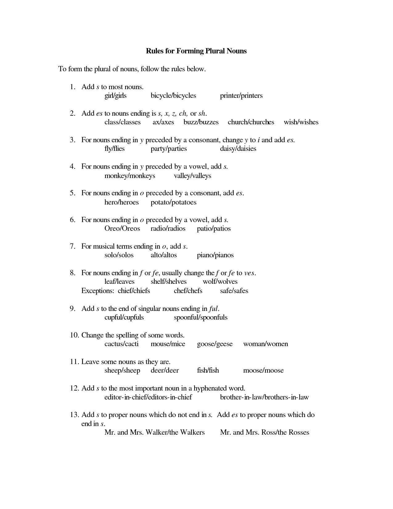 Common Proper Nouns Worksheet