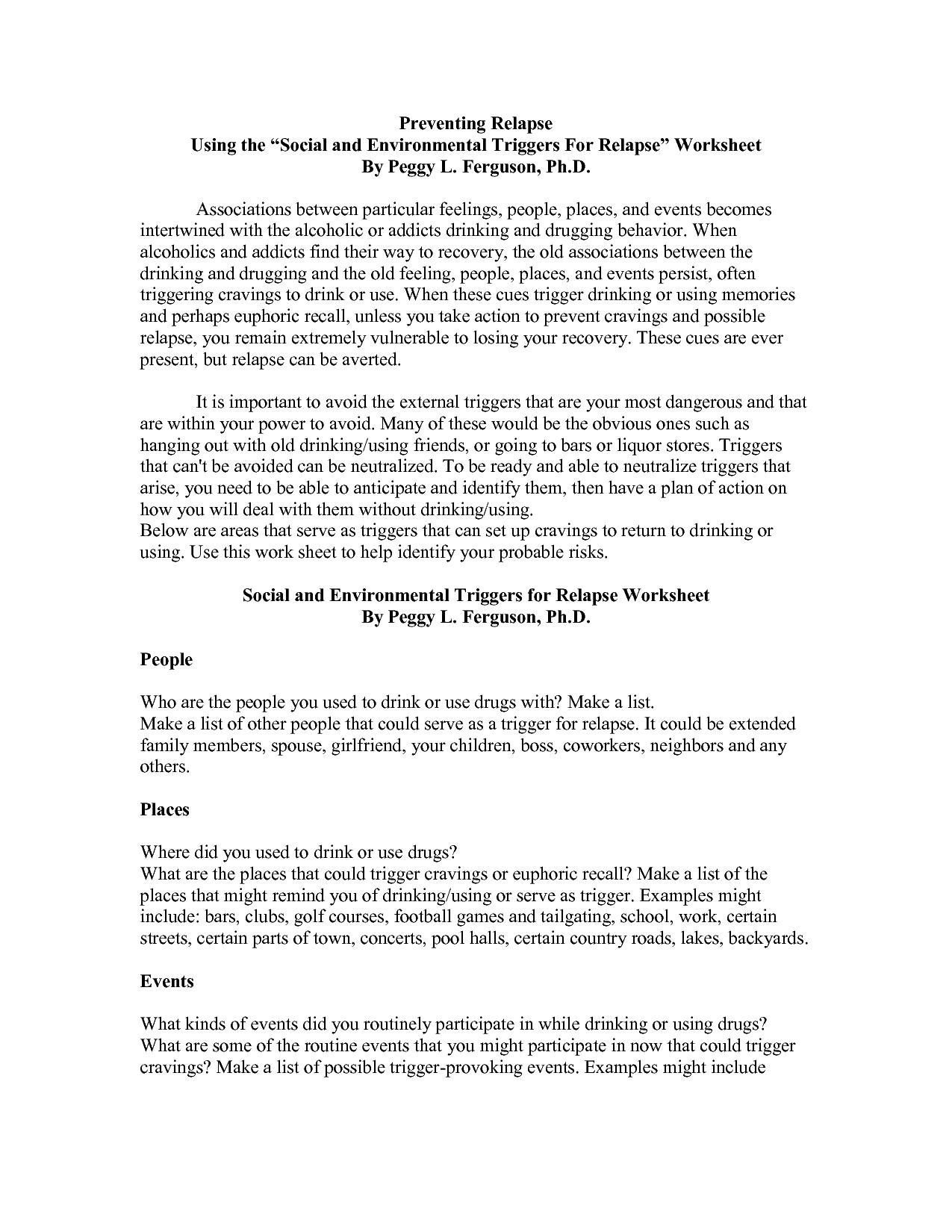 Gorski Relapse Prevention Worksheet