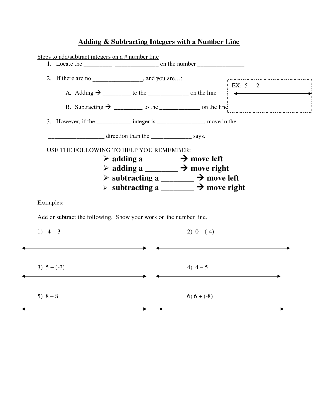 17 Best Images Of Adding Integers Number Line Worksheet
