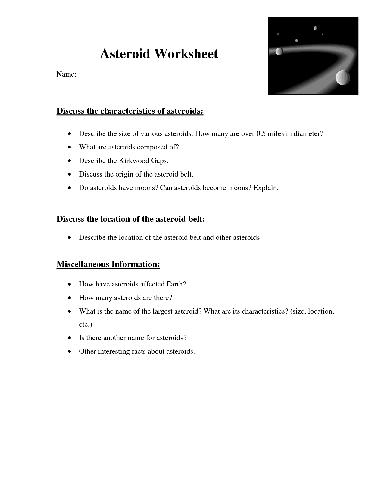 11 Best Images Of Asteroids Comets And Meteors Worksheet