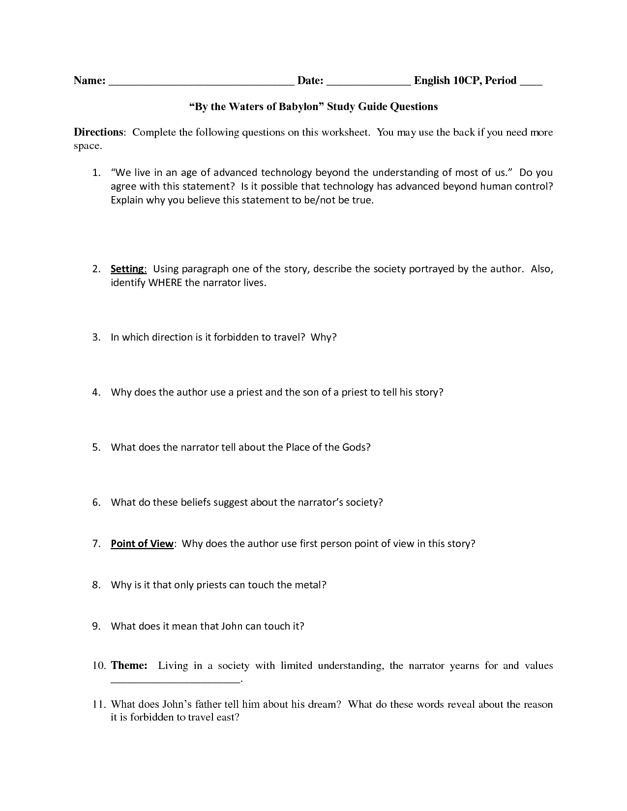 13 Best Images Of Identify Story Setting Worksheet