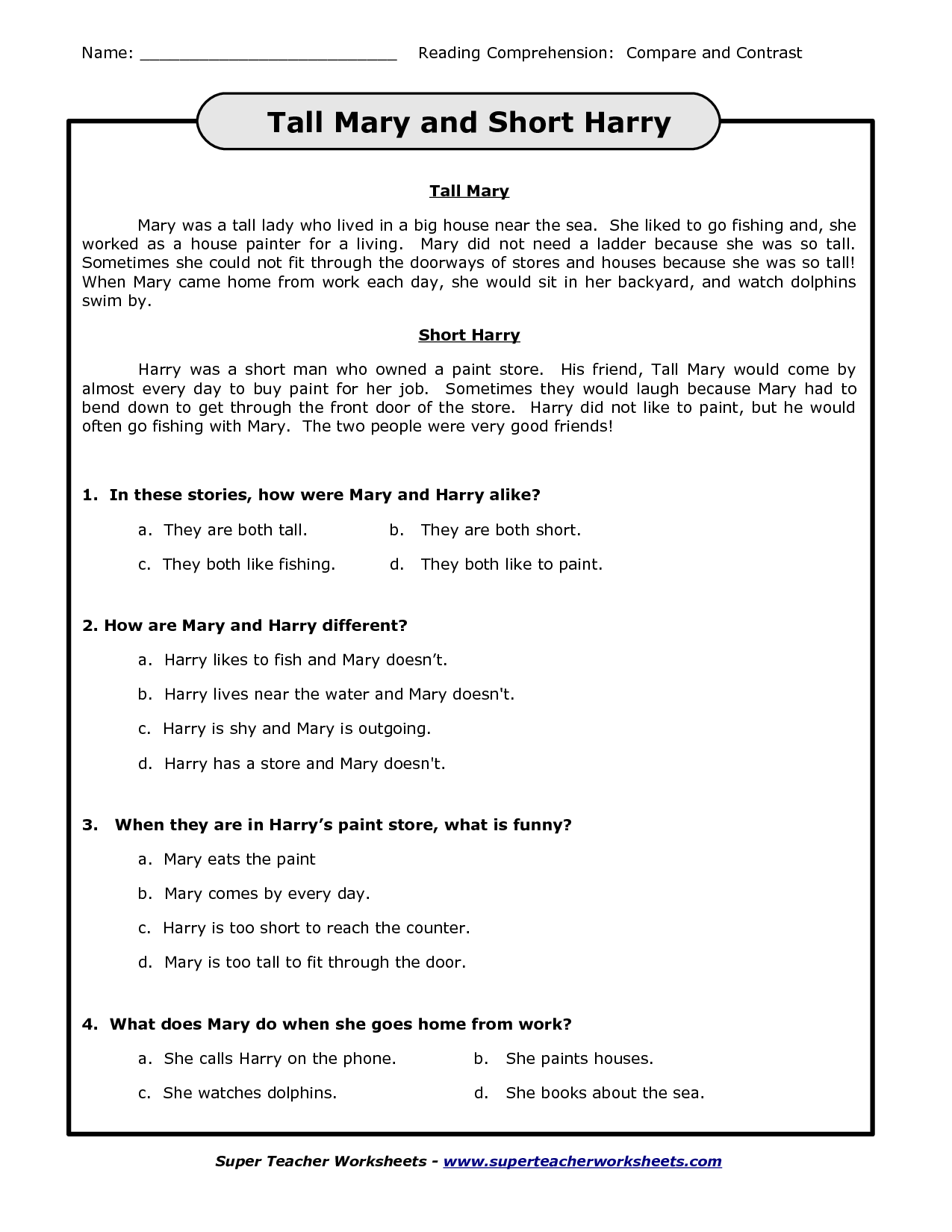 Search Results For Compare And Contrast Worksheets For