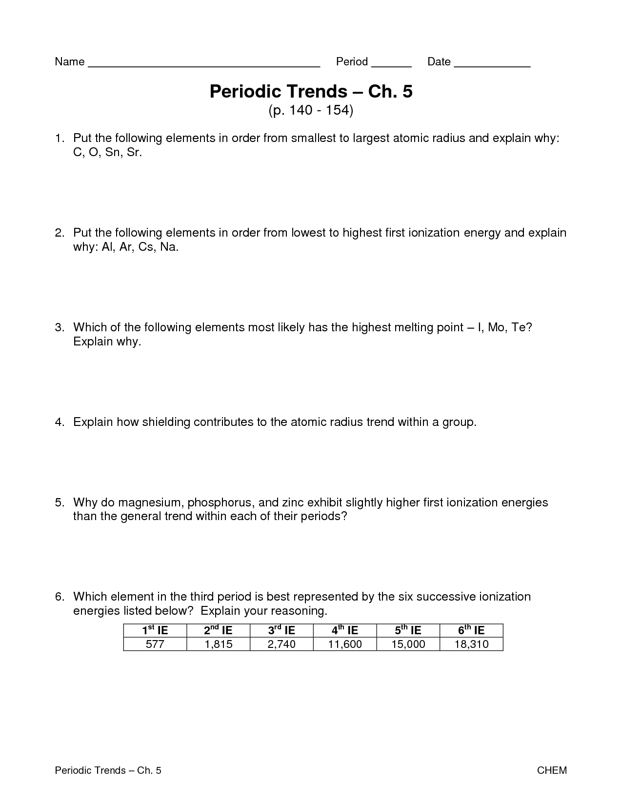 Periodic Trend Worksheet Answers