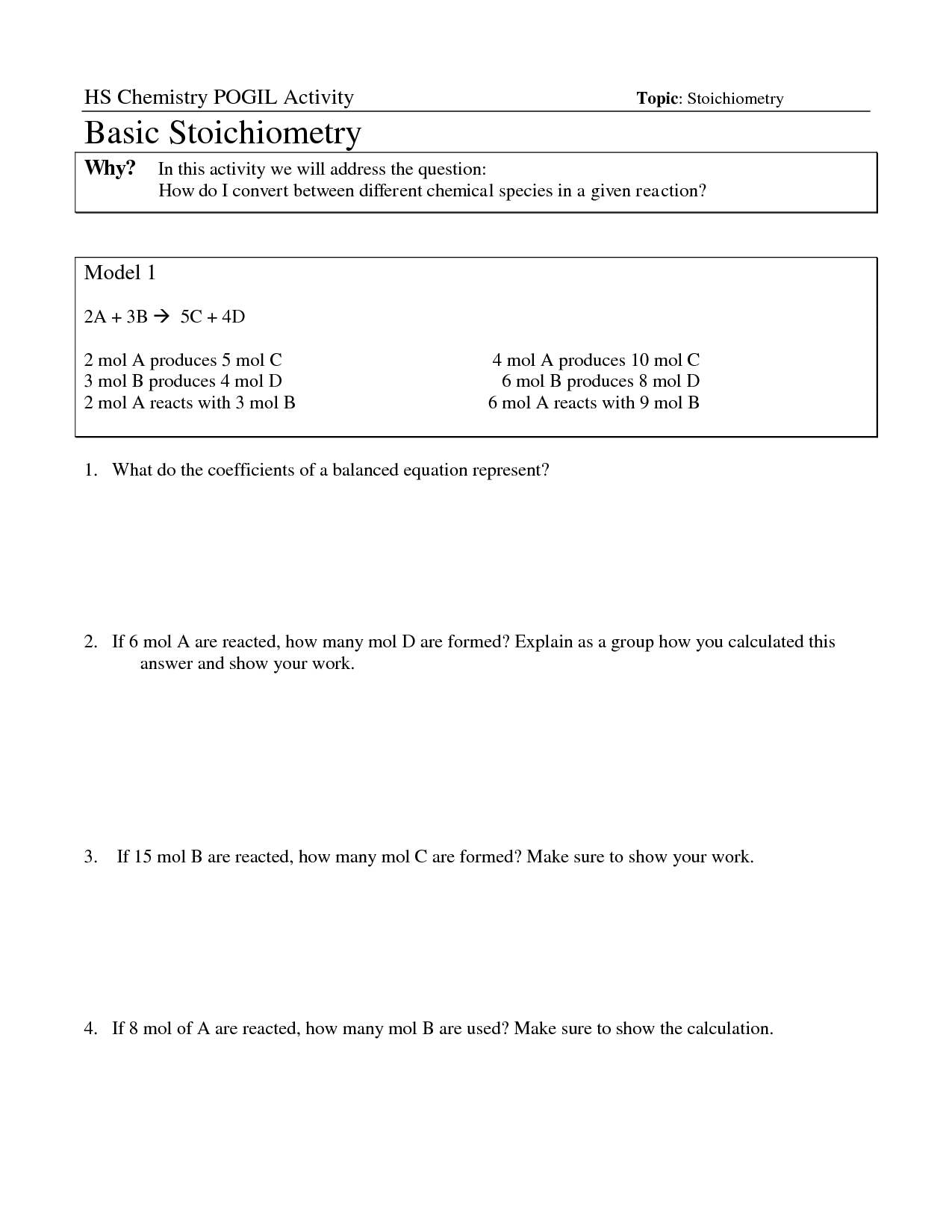 17 Best Images Of Mole Ratio Worksheet Answers