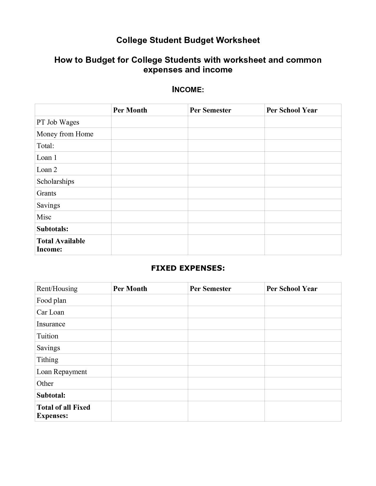 17 Best Images Of Money Expenses Worksheet