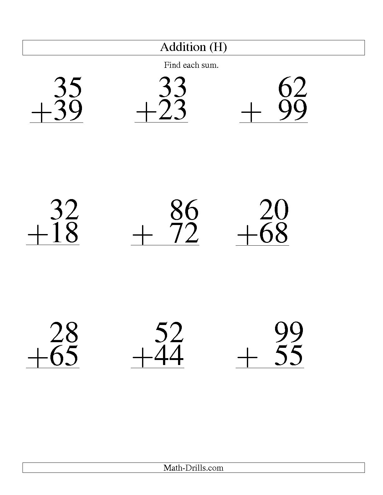 11 Best Images Of Large Print Math Worksheets