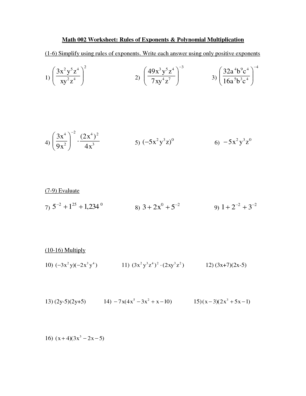 Algebra Exponent Rules Worksheets
