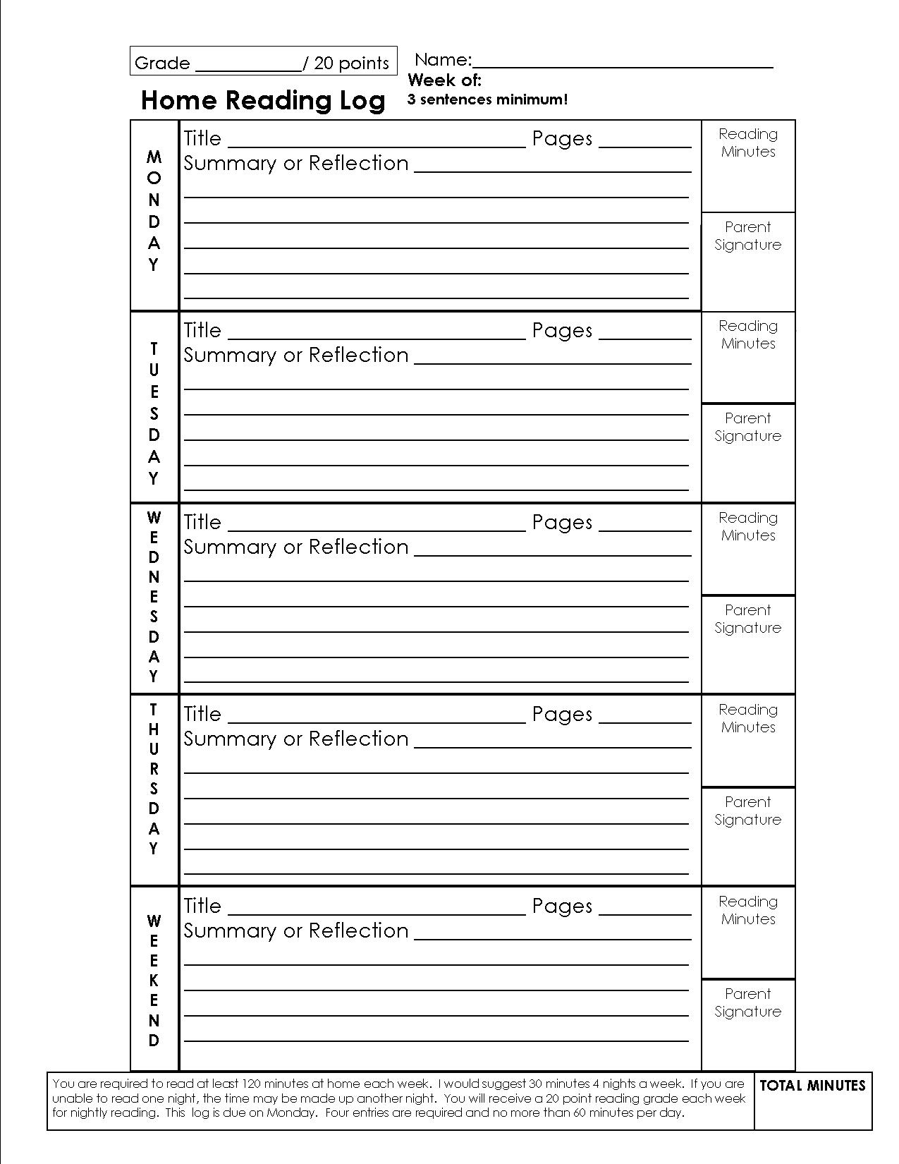 17 Best Images Of Elementary Reading Log Worksheet