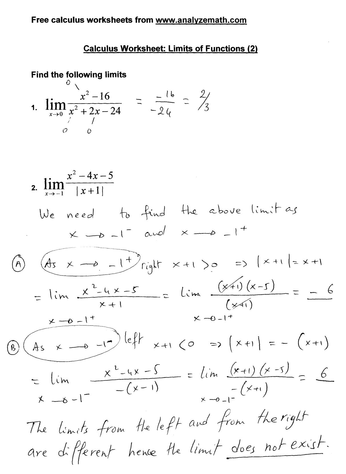 Limits Worksheet Solutions
