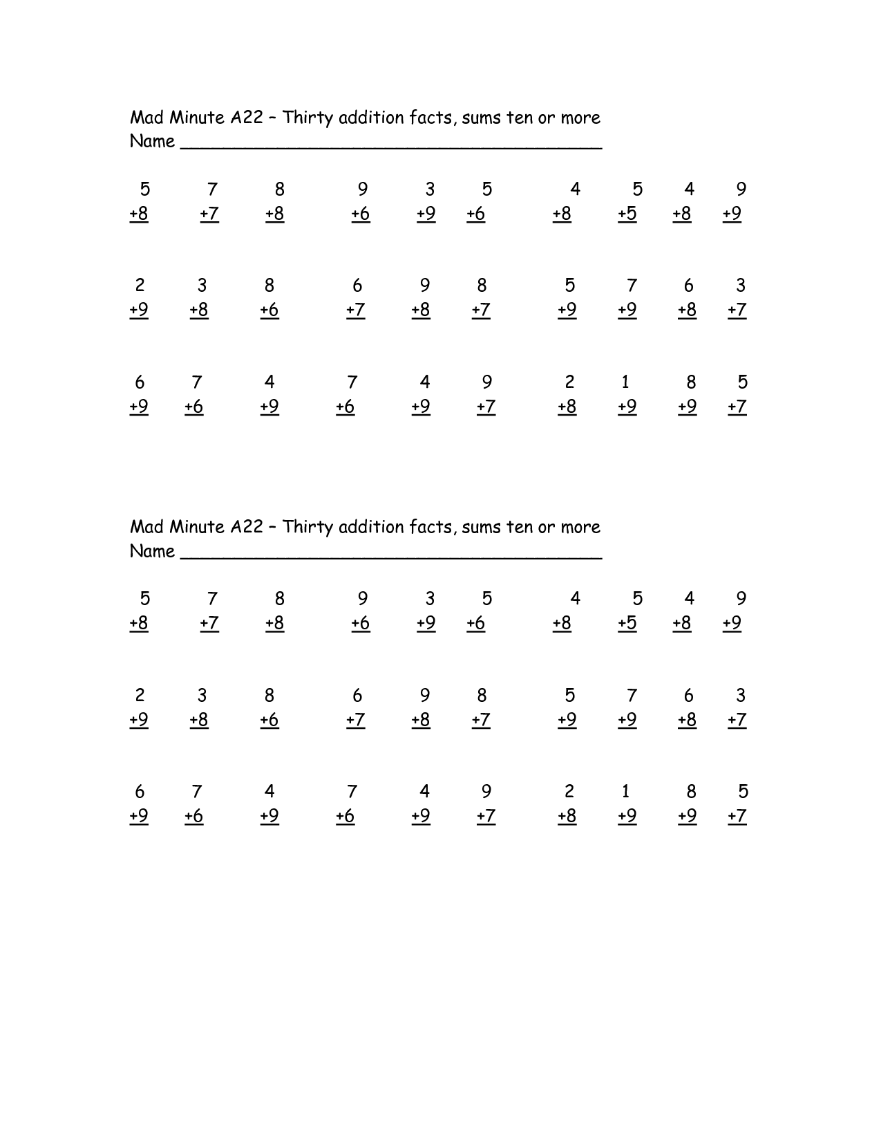 11 Best Images Of Mad Minute Addition Worksheets Printables