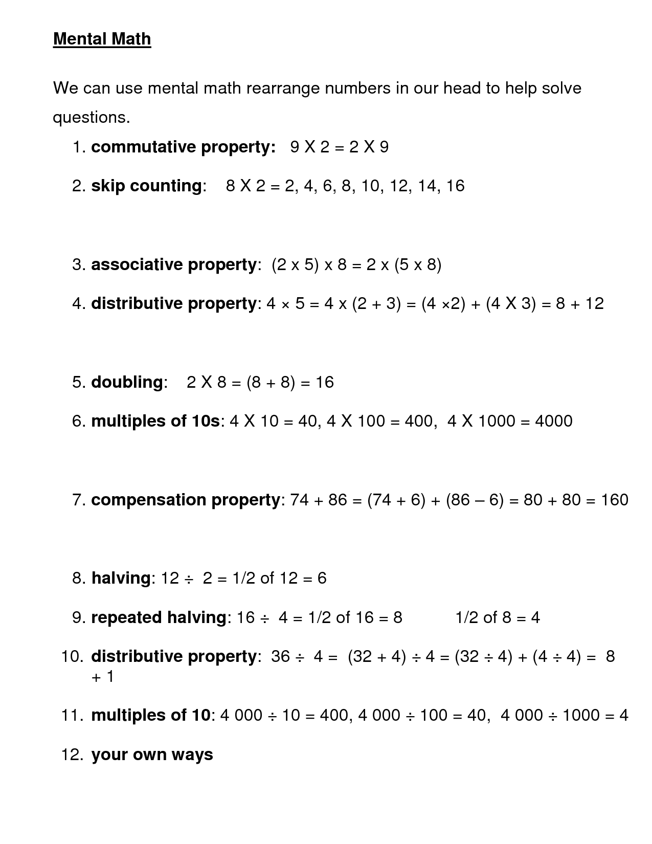 5 Best Images Of Mental Math Worksheets Printable