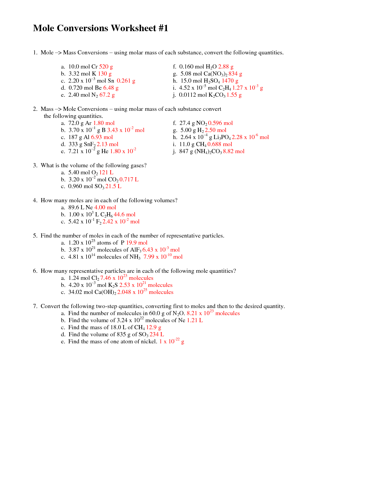 Mole Conversion Worksheet 1