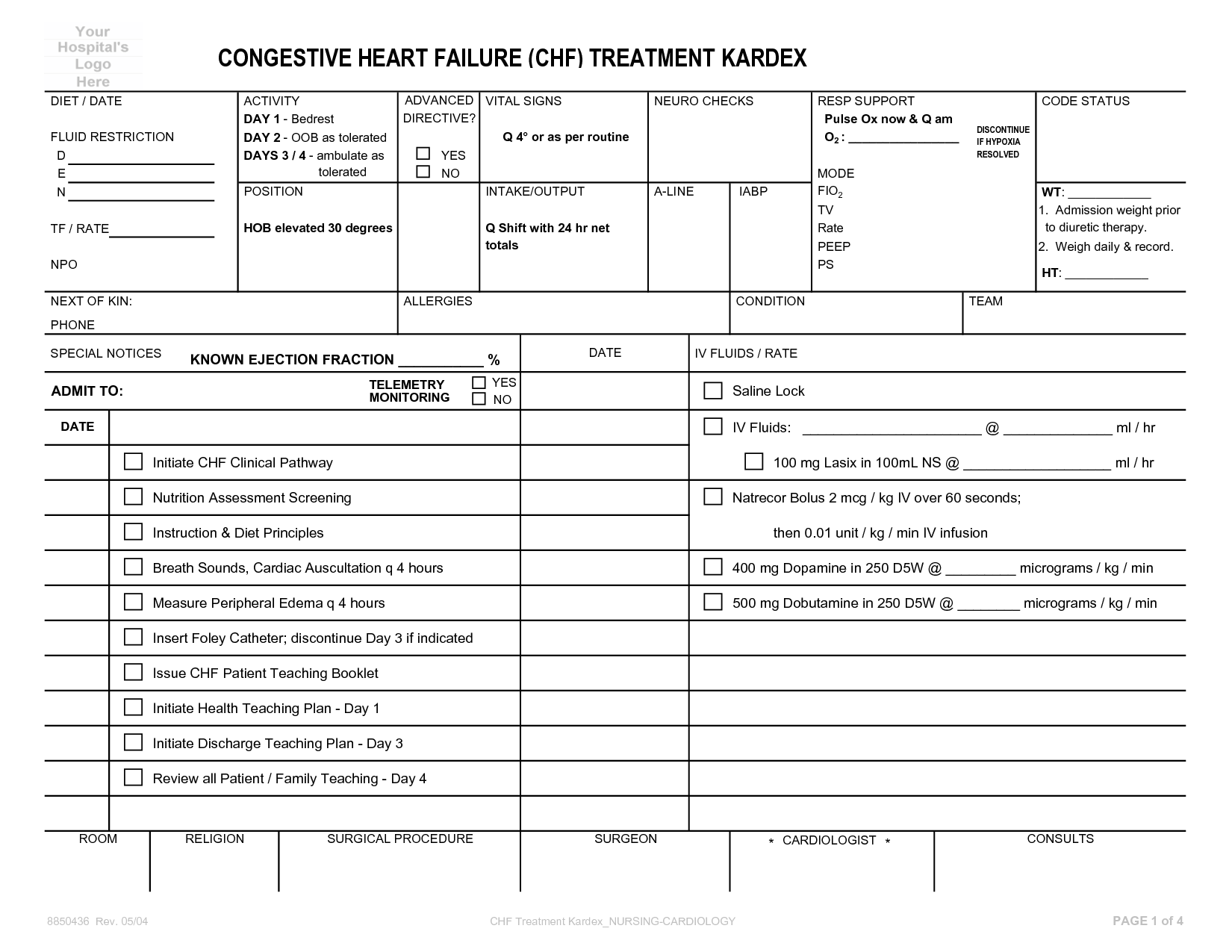 Daily Patient Care Worksheet