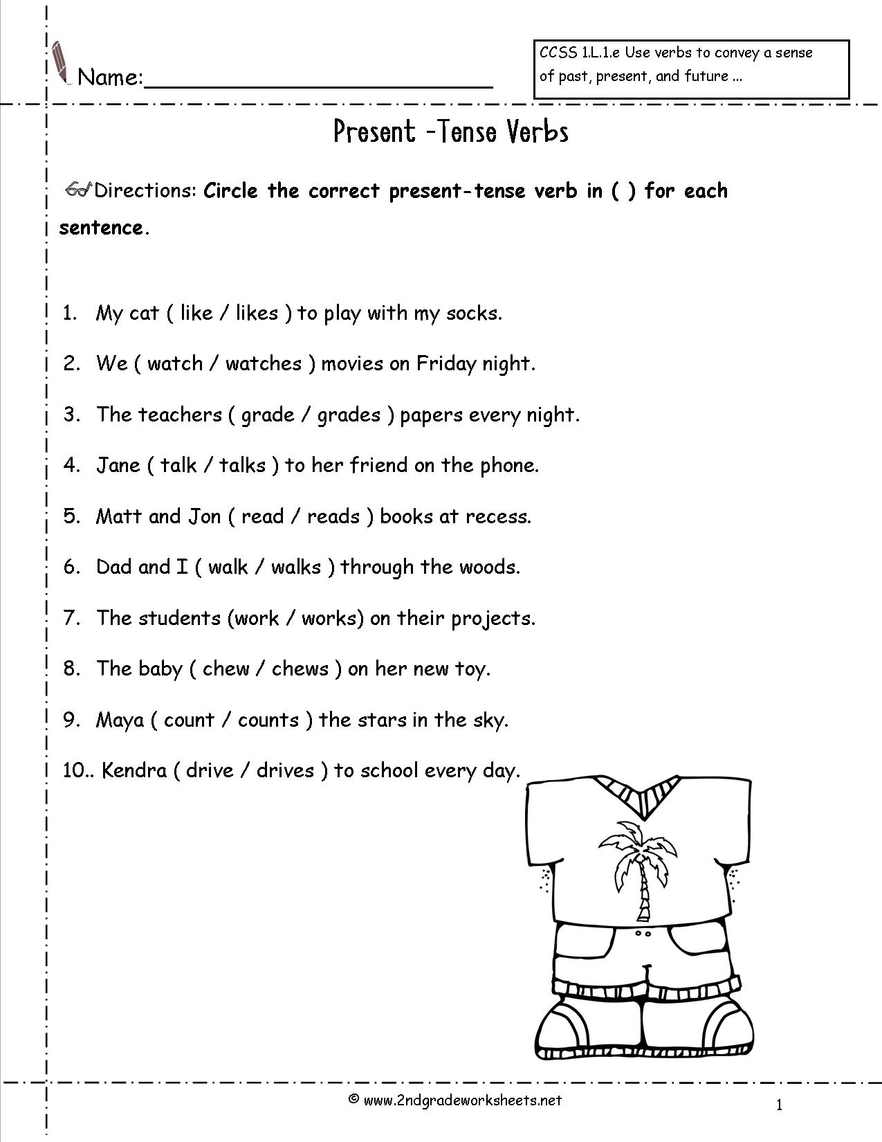 Present Tense Verbs Worksheets 4th Grade