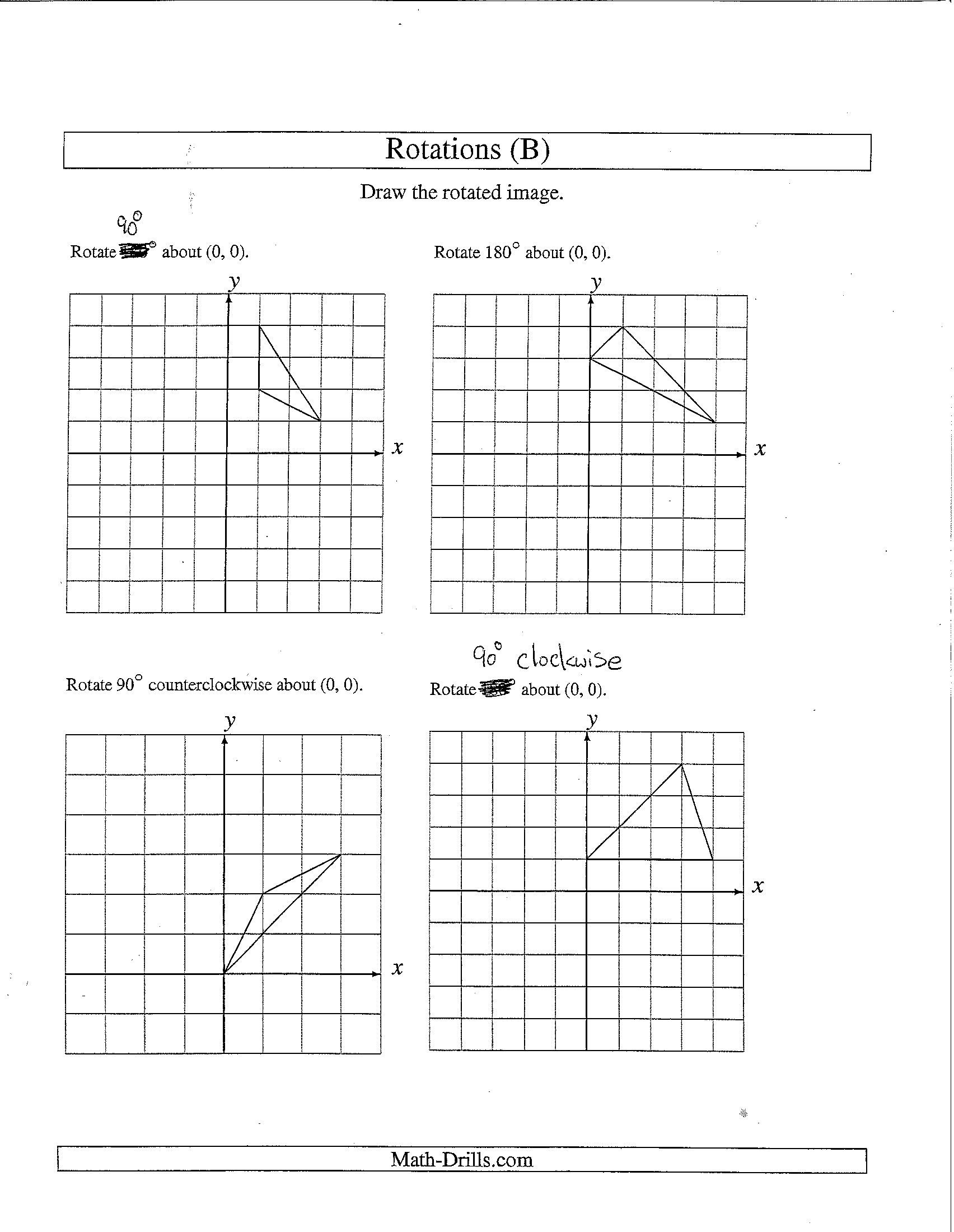28 Rotations Worksheet 8th Grade