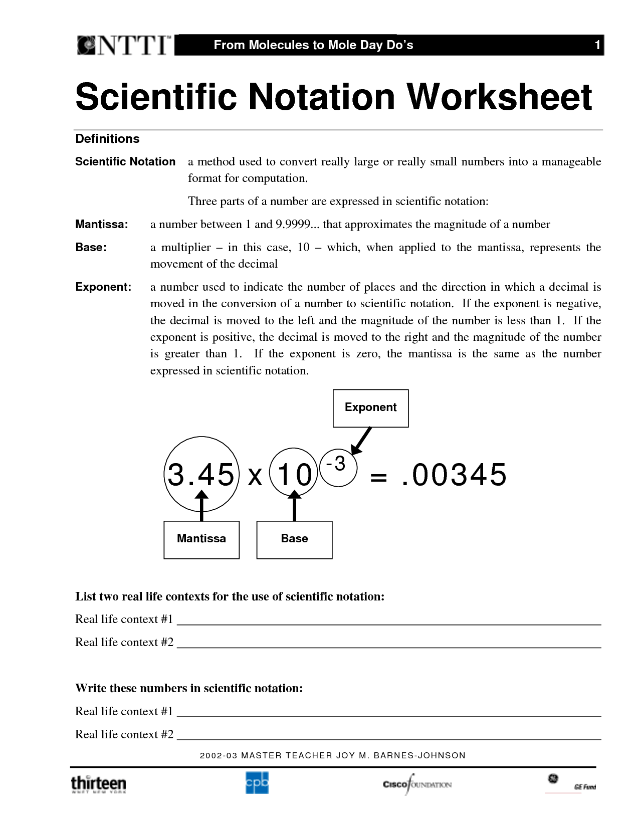Scientific Notation Operations Worksheets Free