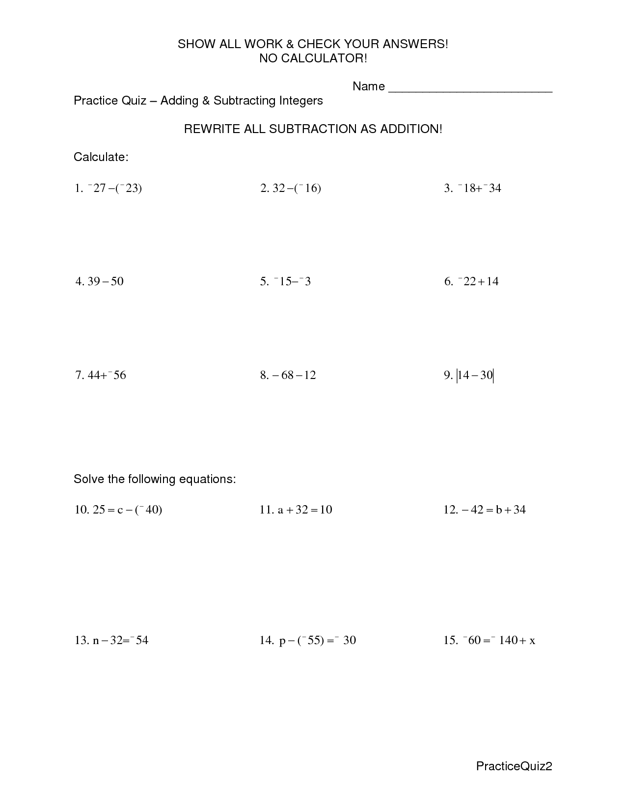 12 Best Images Of Subtracting Integers Worksheet And