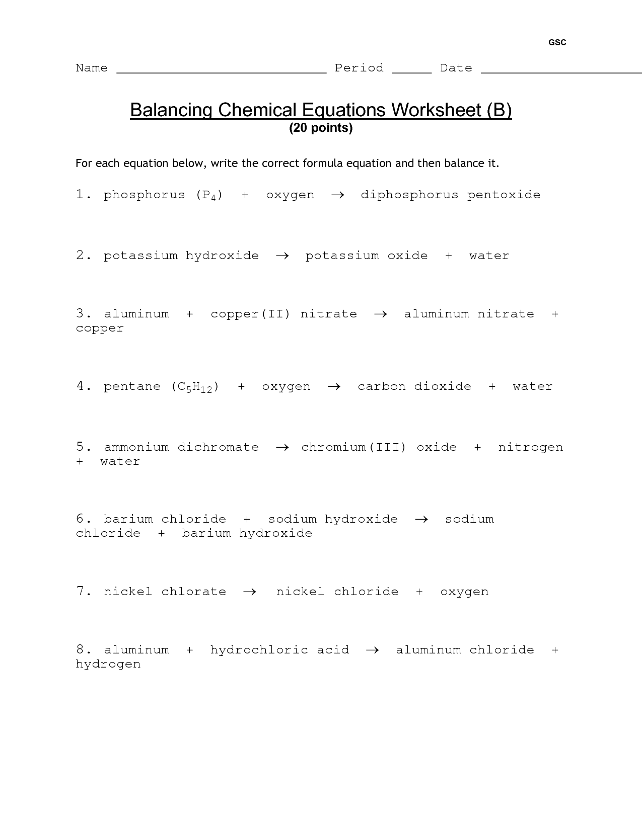 18 Best Images Of Practice Balancing Chemical Equations Worksheet